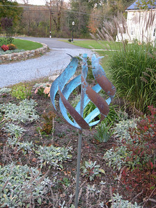 This wind sculpture was donated to the Inn by the Schwackhamer family.  Samuel Schwackhamer was the original owner of the property; his homestead can still be seen in the basement of the Inn.