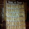 Melissa's seating chart using old wrought-iron keys.
