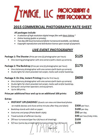 Commercial Photography Packages