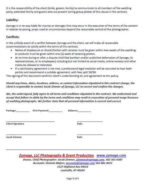Wedding Contract - Zymage