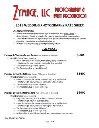 Wedding and Engagement Portrait Rate Sheets