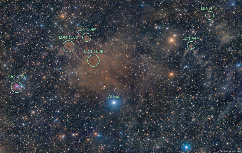 LDN 1089, 1094 & 1100, LBN 444 & 447 and Sh2-130 (annotated)