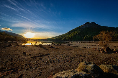 Rattlesnake Lake Ledge Sunset Wide View Stumps Low Water Level 12-31-18