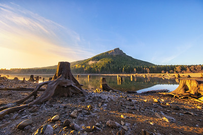 Rattlesnake Lake Ledge Stumps Foreground Reflection Golden Hour 12-31-18