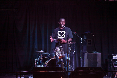 """Dashawn MCs at the first Annual """"FEED Fest for Keep A Breast"""" at the Rock Shop on Friday, October 21st, 2011."""