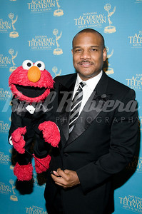 Presenter Kevin Clash with Elmo at the 35th Annual Creative Arts Emmy Awards. ___Use link in the banner of this page for instructions to order a high resolution color corrected digital file of this image. Images are © Marc Bryan-Brown 2008 and may not be downloaded without written permission. Many thanks and congratulations.