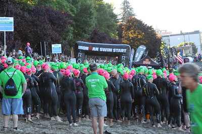 Everyone waiting for their start time of the swim