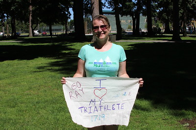 I made a sign for Ray.  The 1719 was Ray's race number.  I held this up for him at the end of the run by the finish line for him to see.   As a side note the material I used was from our wedding.
