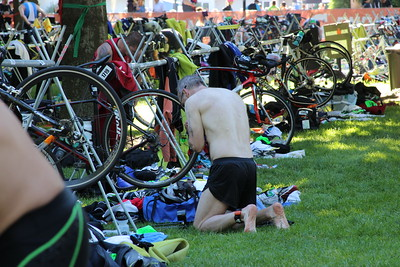 Ray in transition getting ready for the bike ride