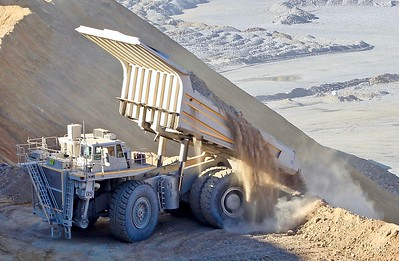 Dumping a load at the Ray Mine (2018)