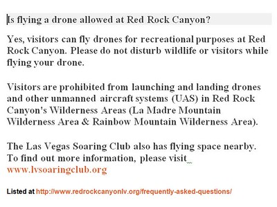 OK for drones in Red Rock Canyon