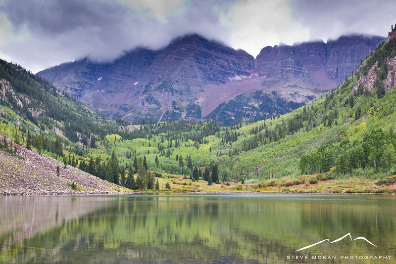 Just like seven years ago when I brought my parents to Aspen, we got skunked on the weather at the Maroon Bells.  Rain was moving in and the clouds were starting to get heavy.
