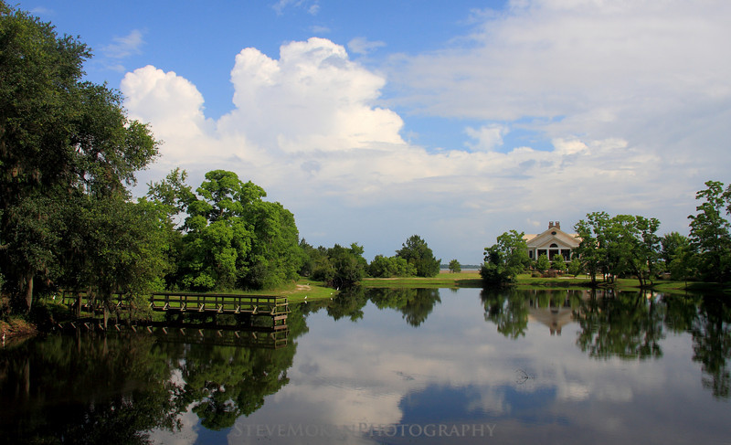Looking out over the pond towards the clubhouse in Coosaw Point.