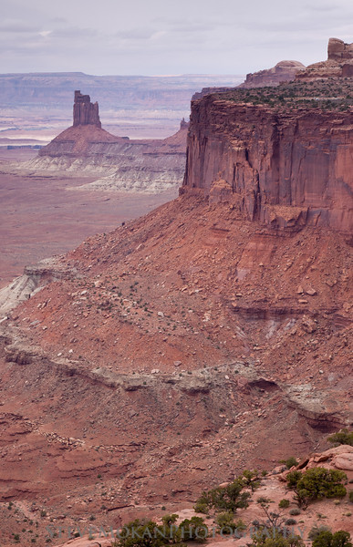 From the Green River Overlook, you look back on the candlestick tower from the opposite perspective of False Kiva.