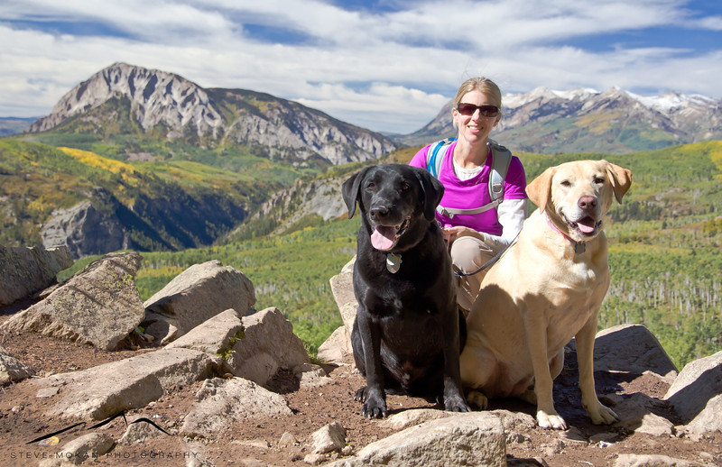 My hiking partners for the weekend in front of the main viewpoint on the Dark Canyon Trail.
