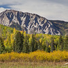 Marcellina Mountain in the background, fall colors in the foreground.