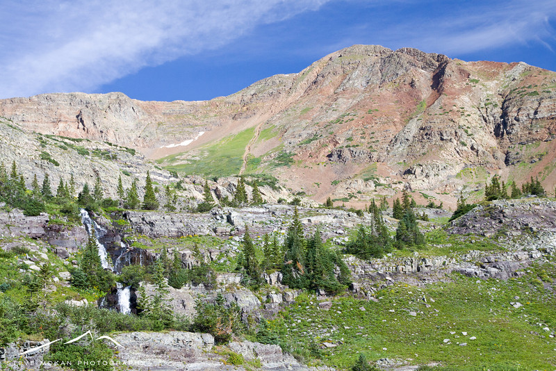 Our second hike was to Green Lake, which is about 400 feet above the waterfall seen here.  Mount Owen looms above.