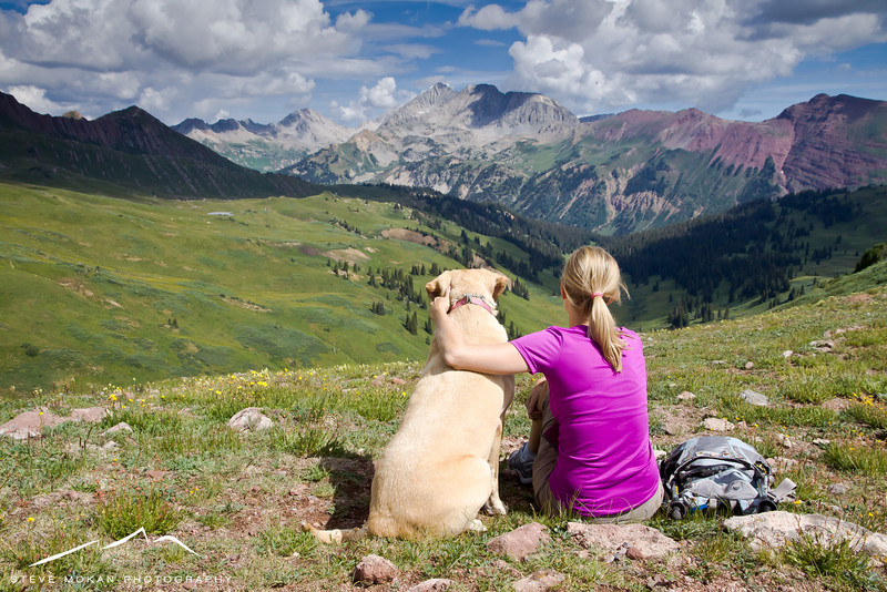 After a lunch break (leftover pizza from Secret Stash in Crested Butte), Sarah and Talley enjoy the views.