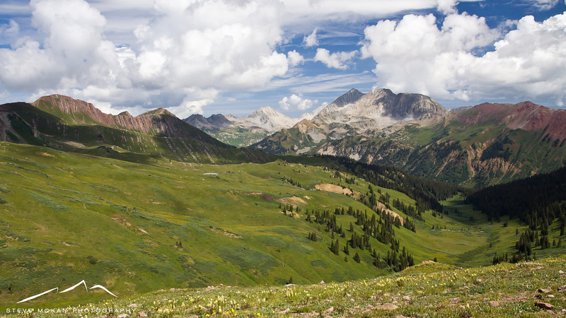 Once at the top of Hasley Pass, we had this view to the north towards Aspen.  Several of the peaks in this picture are 13k and 14k feet tall.