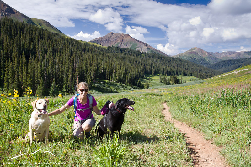 Sarah with two of the best hiking partners you could ask for.  They're tireless, and they LOVE pulling uphill.