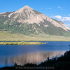 Mt. Crested Butte with Peanut Lake in the foreground, just before sunset.