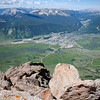 Looking down on the town of Crested Butte from the top of the mountain, at 12,162 feet.