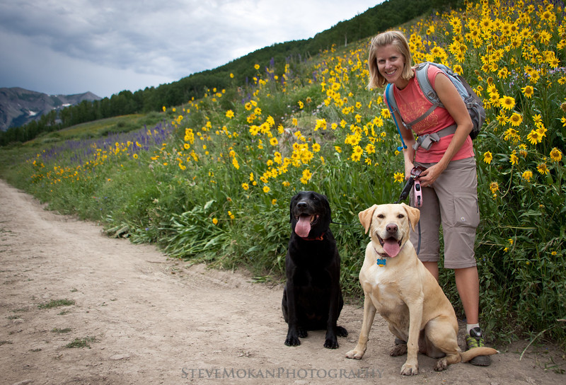 Sarah and the dogs stopped for me in front of another patch of wildflowers.