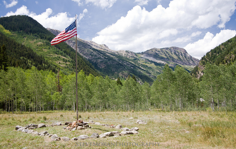 This American Flag was flying high in the town of Crystal.  No permanent residents, but they had this same flag flying seven years ago when we visited.
