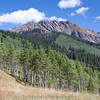 One of the many rugged peaks in the Gore Range, with a huge aspen forest just below.