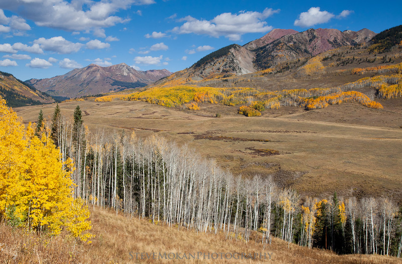 Looking up the East River Valley towards Gothic, with plenty of aspens lining the mountainsides.