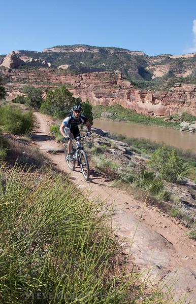 Riding along the Colorado River on Horsethief.
