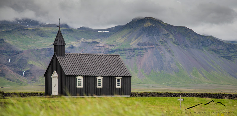 Our next stop was the Budirkirkja (black church), one of our favorite spots.  This tiny, unassuming church is near a black sand beach in the middle of a landscape that looks like a Scottish golf course.