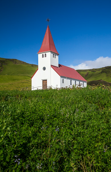 We finally reached the south coast and passed through the tiny town of Vik, where a church stands high on the side of the mountain overlooking town.