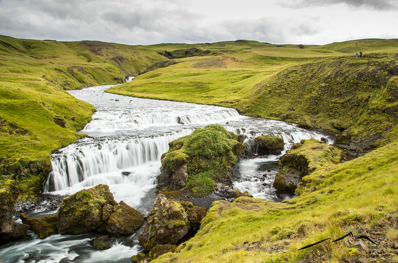 The Fimmvorduhals trail is famous for its waterfalls, of which there are probably close to 25.  This was just a few feet above Skogafoss and fairly close to the beginning.