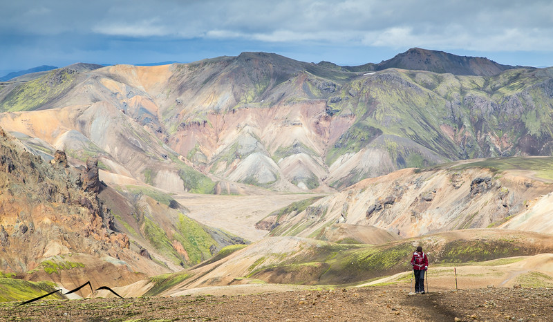 This shot of Sarah hiking about says it all.  The mountains behind her are some of the most colorful I've ever seen.