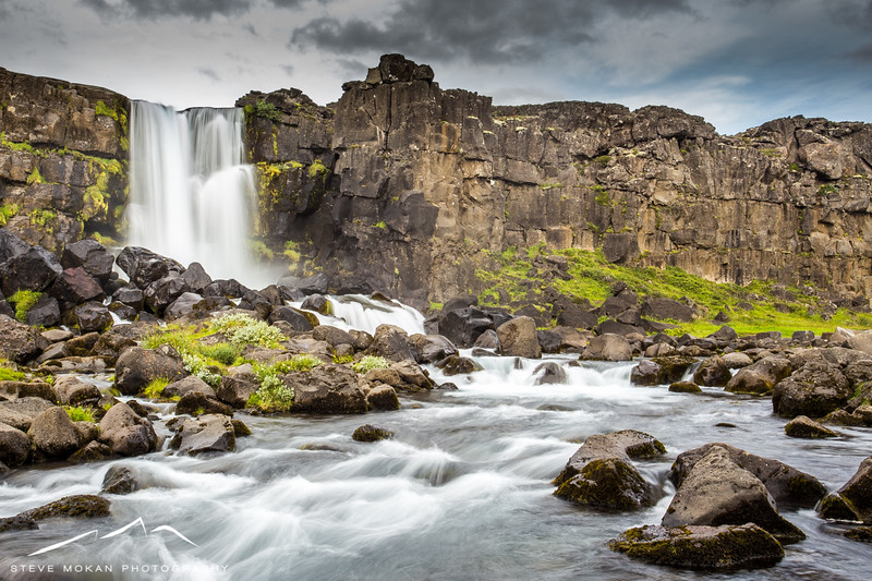 """The lovely Oxarafoss in Thingvellir Nat'l Park.  This waterfall drops down into the """"rift"""" that is created by the separate of the two continental plates."""