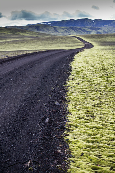 A perfect contrast- the black road and the green moss.  This road went north to Landmannalaugar but got too rough for us, so we turned around at this point.