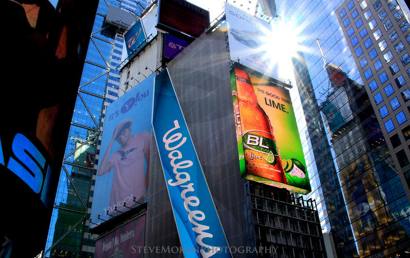 Times Square- the sun makes its way through every once in a while.