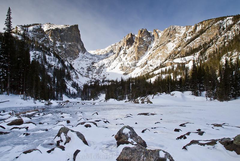 Hallett Peak on the left, Flattop Peak on the right.