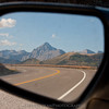 Looking in the side view mirror on top of Dallas Divide.