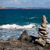 A small coral cairn on Drunk Bay on the east side of St. John.