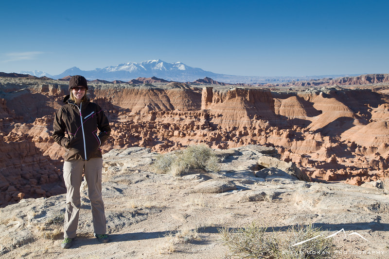 We got to Goblin Valley around 8:30am after leaving Fruita, CO early that morning and were the first people in the park.  There's a large plateau in the middle of the main section that you can scramble up (climbing using hands and feet), so we got up to the top for an awesome view.