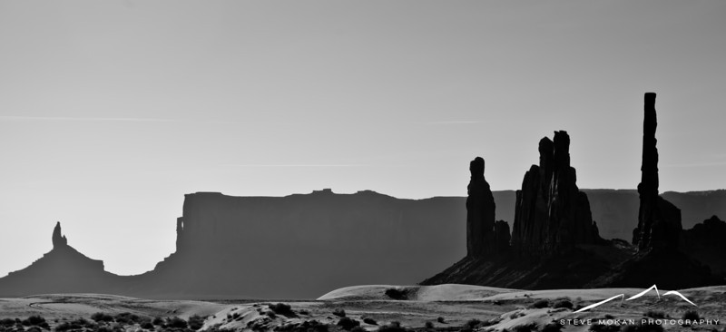 The formation to the right is called the Totem Poles, it's pretty easy to see why.
