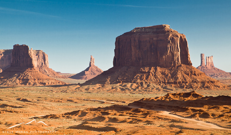 This gives you a little perspective on how big the monuments are; this picture includes over a mile of the dirt road.