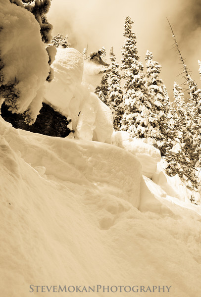 Yes, this one really is as big as it looks.  Bill stomped the landing in 3-4' of pillowy soft powder.