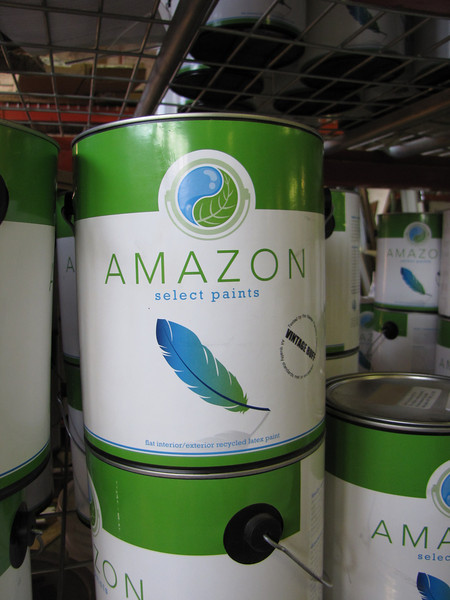 """Amazon recycled content paint: $16/gal, $55 five gallon bucket<br /> <br /> find more info on our blog: <a href=""""http://www.habitatstl.org/newsevents/news/2010/07/23/restore-now-sells-recycled-paint/"""">http://www.habitatstl.org/newsevents/news/2010/07/23/restore-now-sells-recycled-paint/</a>"""