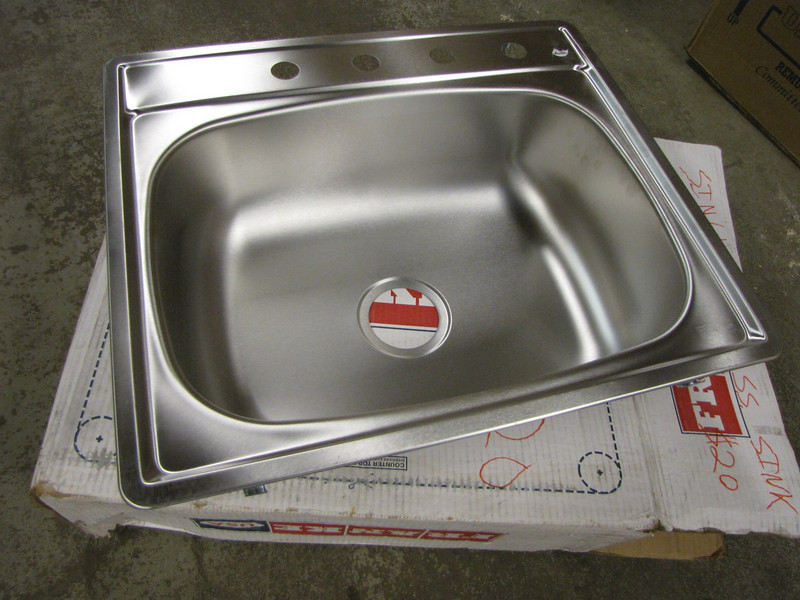 new stainless steel sink: $20