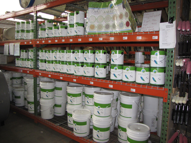 Always in stock-- Amazon Recycled Paint. Many varieties of colors, indoor and outdoor application with up to 350 s/f of coverage; available in 1 gallon ($16) and 5 gallon ($55) sizes.