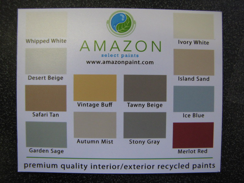 """Amazon recycled content paint: $16/gal, $55 five gallon bucket<br /> <br /> find more info on our blog:<br /> <a href=""""http://www.habitatstl.org/newsevents/news/2010/07/23/restore-now-sells-recycled-paint/"""">http://www.habitatstl.org/newsevents/news/2010/07/23/restore-now-sells-recycled-paint/</a>"""