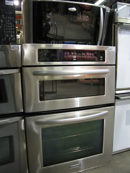 like new (floor model) stainless steel double oven: $1400<br /> microwave: $390